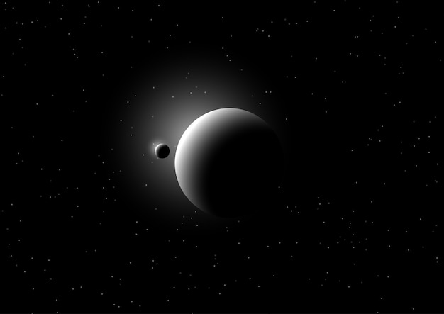 Fondo de espacio con planetas ficticios.