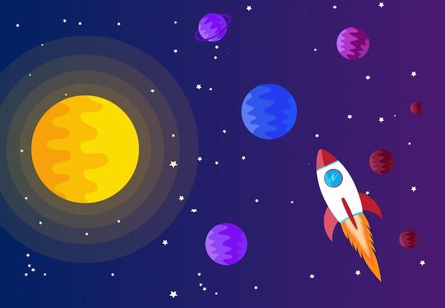 Fondo de espacio con sol, planeta y estrella.