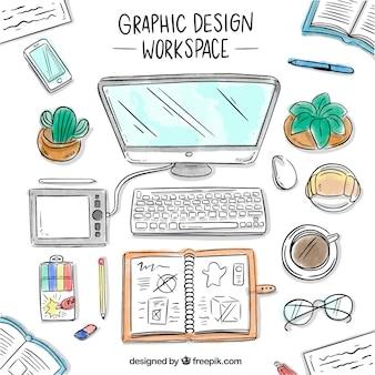 Fondo de espacio de trabajo de diseño gráfico en estilo hecho a mano