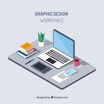 Fondo de espacio de trabajo de diseño gráfico