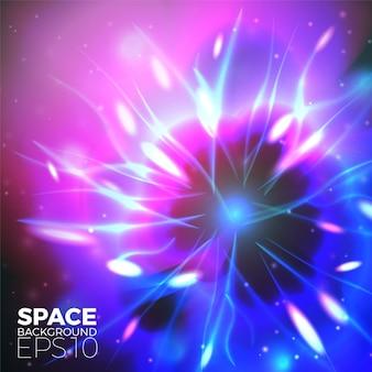 Fondo del espacio vectorial con luces brillantes de planetas