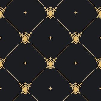 Fondo de espada y escudo. diseño de protección de letrero medieval.