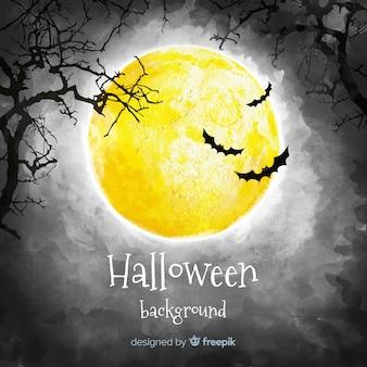 Fondo espeluznante de halloween en acuarela