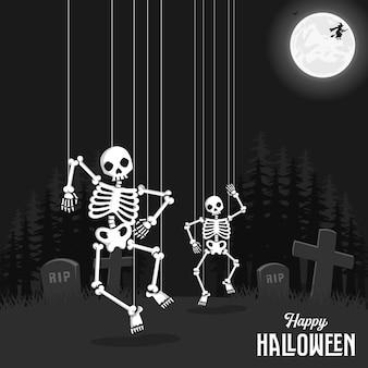 Fondo espeluznante de halloween con calavera y cuerda