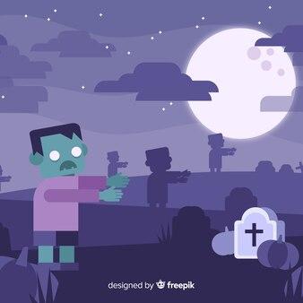 Fondo espeluznante de halloween con diseño plano
