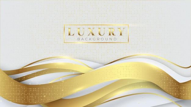 Fondo de esposa dorada con formas blancas plateadas, línea de lujo moderno, diseño 3d