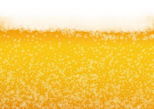 Fondo de espuma de cerveza con burbujas realistas.
