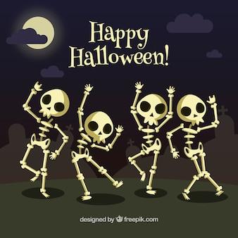 Fondo de esqueletos bailando