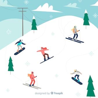 Fondo de esquiadores