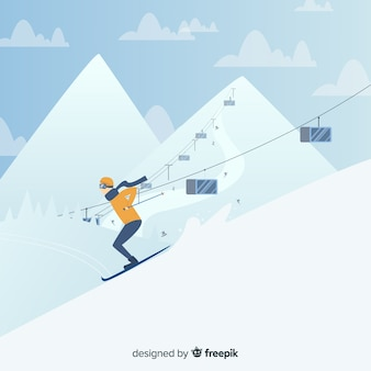 Fondo de estación de esquí