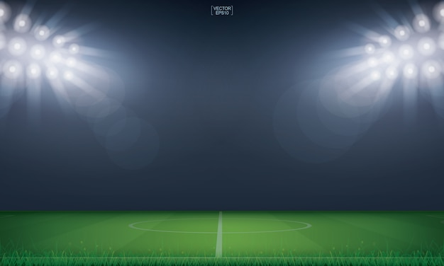 Fondo de estadio de campo de fútbol o campo de fútbol