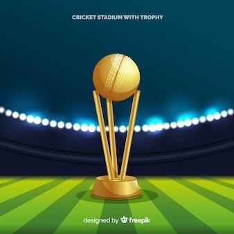 Fondo de estadio de cricket con copa dorada