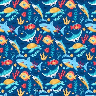 Fondo estampado colorido de vida marina
