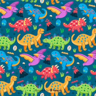 Fondo estampado de dinosaurios coloridos