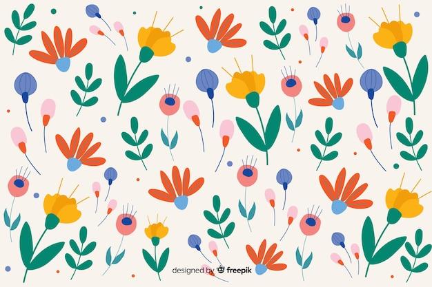 Fondo estampado de flores en diseño plano