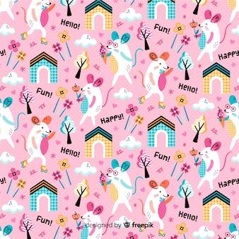 Fondo estampado rosa de ratones y plantas