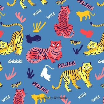 Fondo estampado de tigres dibujados a mano