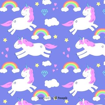 Fondo de estampado de unicornio dibujado a mano