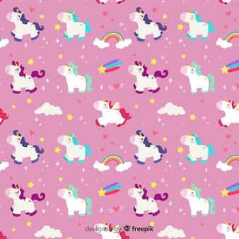 Fondo de estampado de unicornio en diseño plano