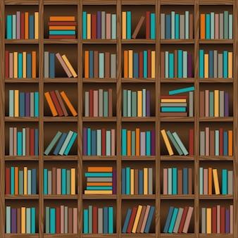 Fondo del estante del libro de la biblioteca