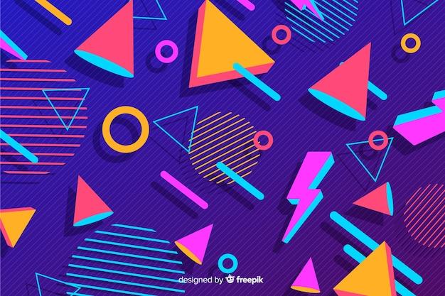 Fondo estilo años 80 con formas geométricas