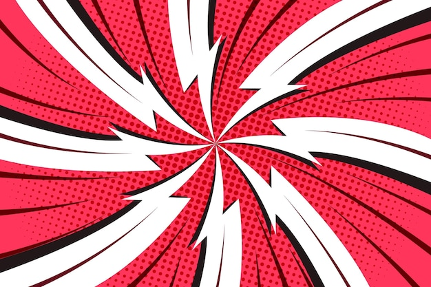 Fondo de estilo cómic rojo y blanco punteado