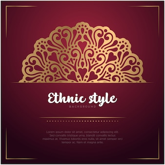 Fondo de estilo étnico con plantilla de mandala y texto, color rojo y dorado