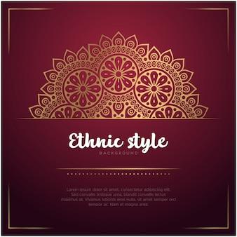 Fondo de estilo étnico con plantilla de mandala y texto