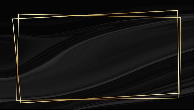 Fondo de estilo mármol negro con marco dorado