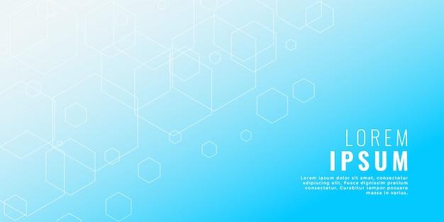 Fondo de estilo médico de línea hexagonal azul limpio