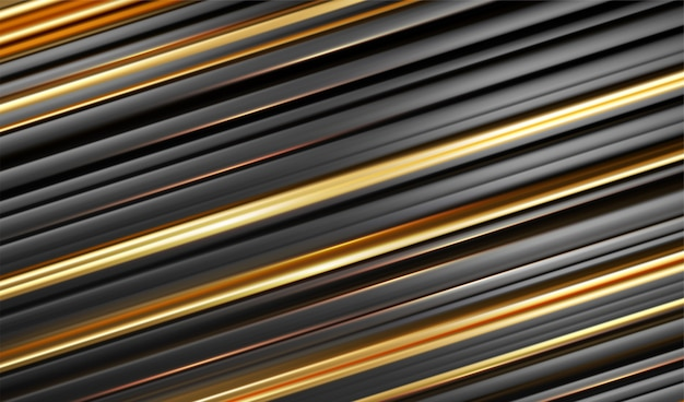 Fondo de estilo moderno de línea negra dorada. concepto de geometría mínima abstracta a rayas.