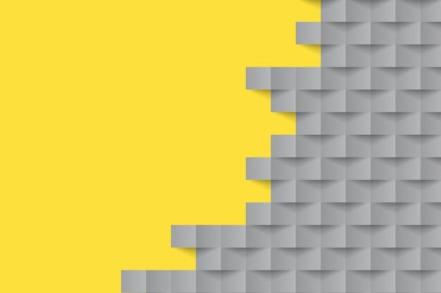 Fondo de estilo de papel amarillo y gris formas geométricas
