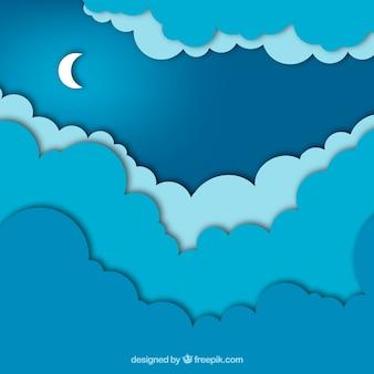 Fondo en estilo de papel con el cielo nocturno