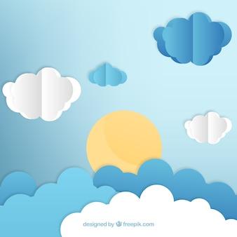 Fondo en estilo de papel con nubes y sol