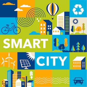 Fondo de estilo plano de ciudad inteligente