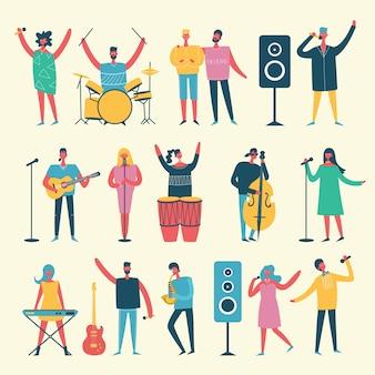 Fondo en un estilo plano de grupo de personas cantando, tocando guitarra, batería, piano, saxofón y otros instrumentos musicales