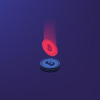 Fondo de estilo de tecnología de moneda digital de bitcoins