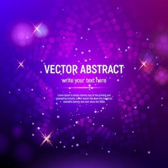 Fondo de estrella de malla púrpura abstracta 3d con círculos, destellos de lentes y reflejos brillantes. efecto bokeh