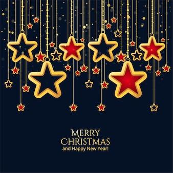 Fondo de estrellas colgantes decorativas de feliz navidad