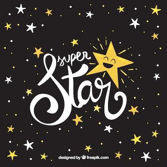 Fondo de estrellas creativo oscuro con lettering