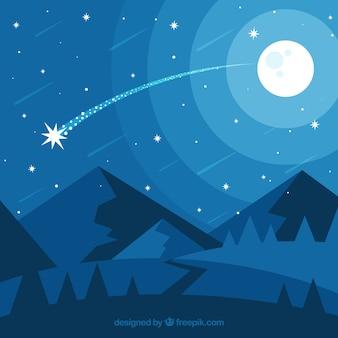 Fondo de estrellas fugaz con paisaje de noche
