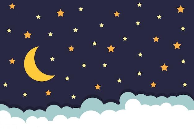 Fondo con estrellas luna y nubes en el cielo nocturno