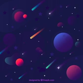Fondo de estrellas con planetas