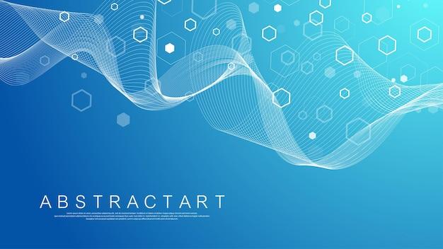 Fondo de estructura molecular. fondo de pantalla de plantilla de ciencia o banner con moléculas de adn. fondo de molécula abstracta con hexágonos, flujo de onda. ilustración vectorial.