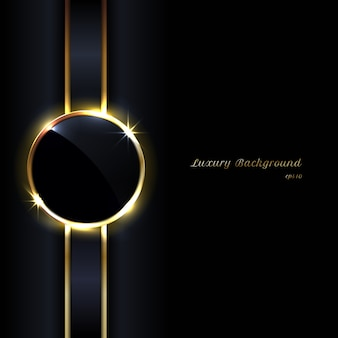 Fondo de etiqueta dorada elegante círculos negros
