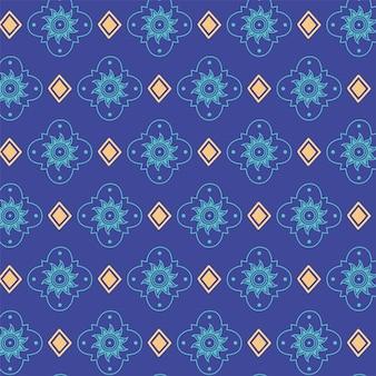Fondo étnico hecho a mano, flores azules florecen decoración antigua ilustración vectorial