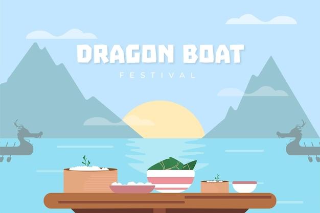Fondo de evento de barco de dragón y montañas
