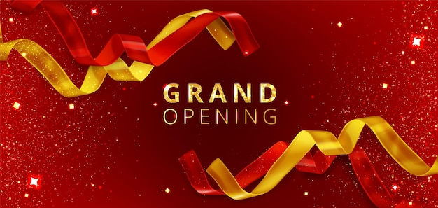 Fondo de evento de gran inauguración con cintas rojas y doradas cortadas