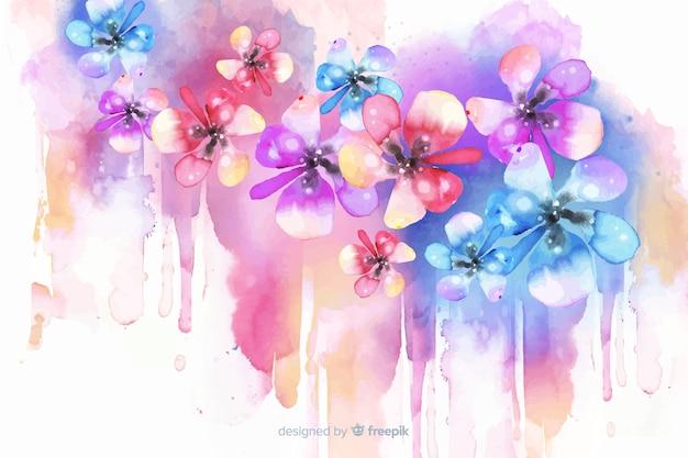 Fondo exótico y colorido de flores en acuarela