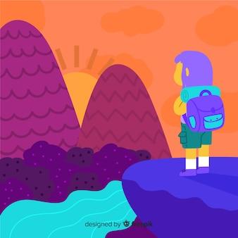 Fondo de explorado con mochila
